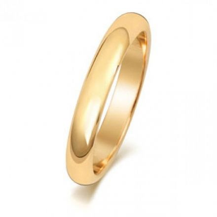 Yellow GOLD WEDDING RING 9K D SHAPE 3 MM, W103M